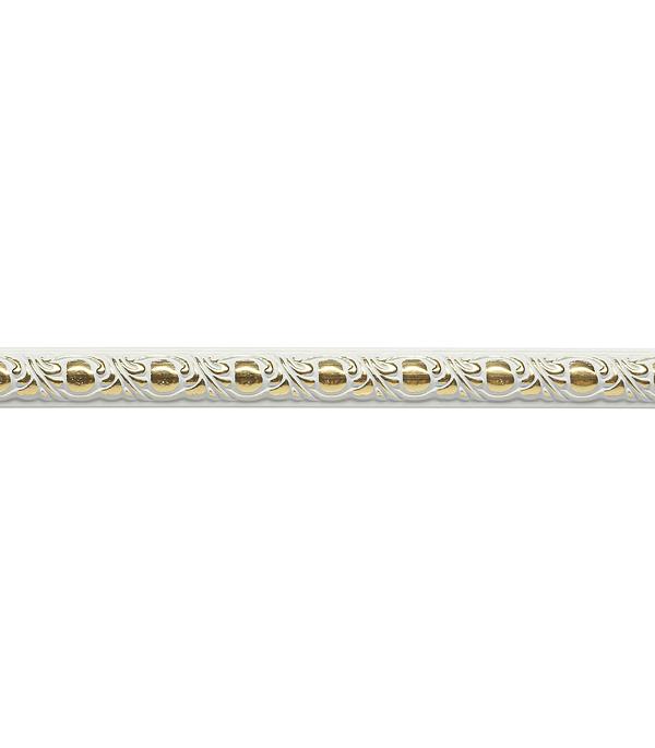 Плинтус (молдинг) из полистирола 15х8х2400 мм Decomaster белый с золотом.