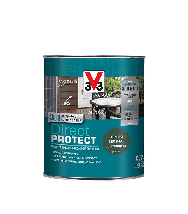 Эмаль по ржавчине V33  Direct Protect темно-зеленая 3в1 0,75 л