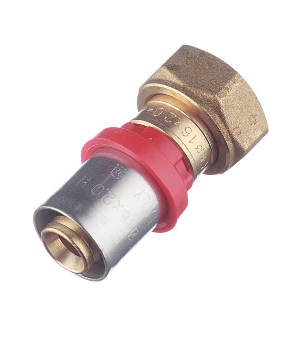 Соединитель прямой с накидной гайкой и плоской прокладкой 16(пресс) х 1/2 внутр(г) Tiemme