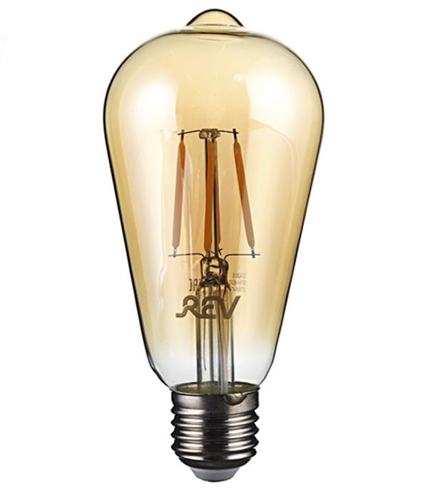 Лампа светодиодная REV VINTAGE филаментная E27 ST64 5 Вт 2700 K теплый свет 1шт 40 вт e26 e27 st64 2300 к дерево лампа накаливания vintage эдисон лампочка 220 240v