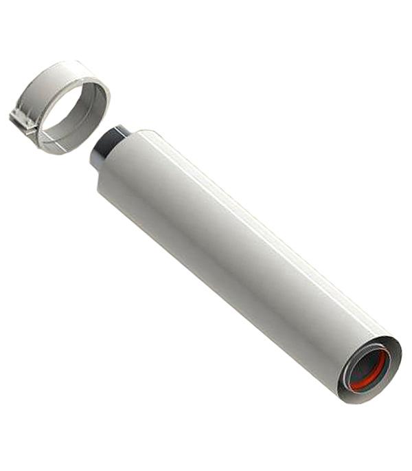 Труба коаксиальная Stout D60/100 1000 мм, уплотнения и хомут в комплекте (лого) цена