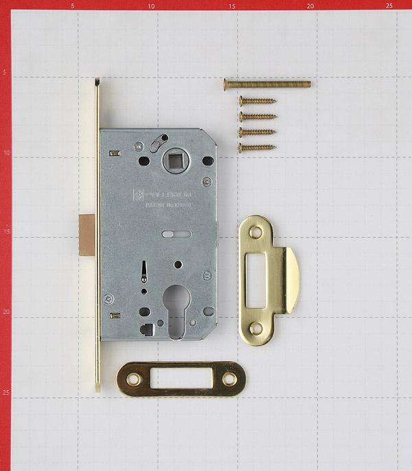 Замок врезной Palladium 600 GP для межкомнатной двери под цилиндр (золото)