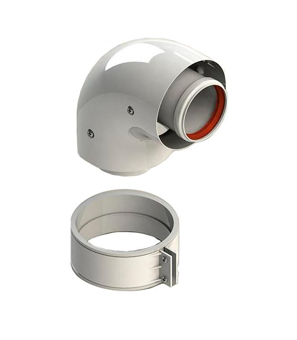 Отвод коаксиальный D60/100 90° Stout, уплотнения и хомут в комплекте цена
