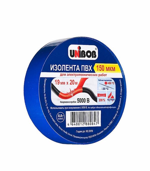 Изолента Unibob ПВХ синяя 19 мм 20 м