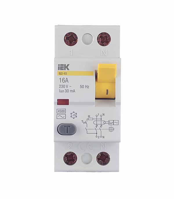 УЗО IEK ВД1-63 (MDV10-2-016-030) 16 А 30 мА 2P тип AC 4,5 кА