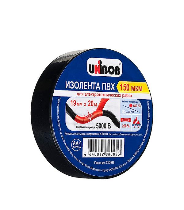 Изолента Unibob ПВХ черная 19 мм 20 м
