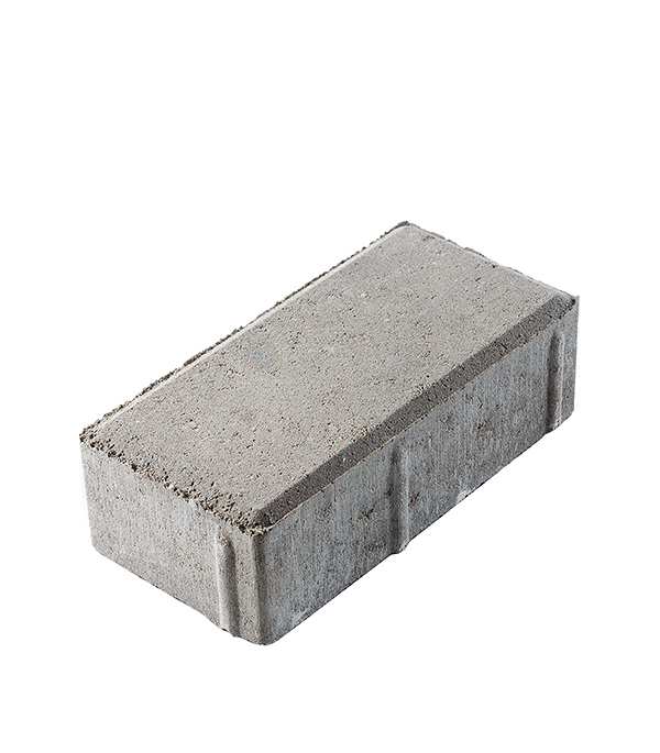 Плитка тротуарная Брусчатка кирпичик 100х200х60 мм серая ГОСТ Цемсис фото