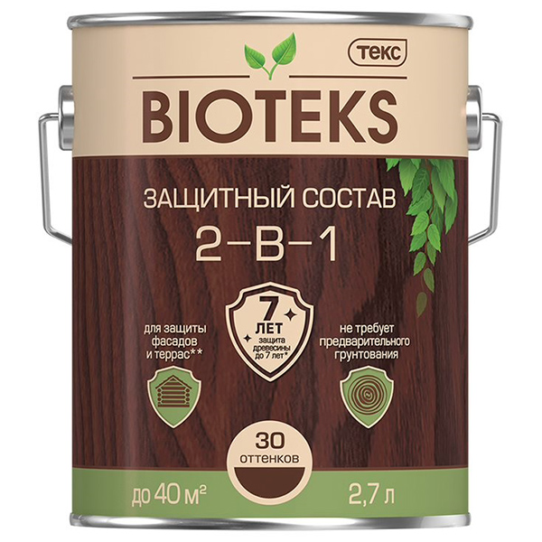 цена на Антисептик Биотекс Bioteks 2-в-1 декоративный для дерева махагон 2,7 л