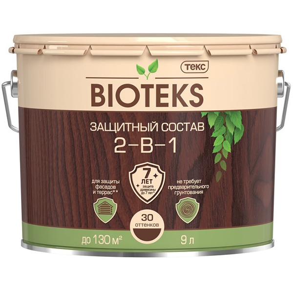 цена на Антисептик Биотекс Bioteks 2-в-1 декоративный для дерева махагон 9 л