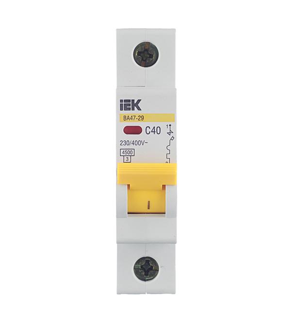Автомат IEK ВА 47-29 (MVA20-1-040-C) 1P 40 А тип C 4,5 кА 230 В на DIN-рейку