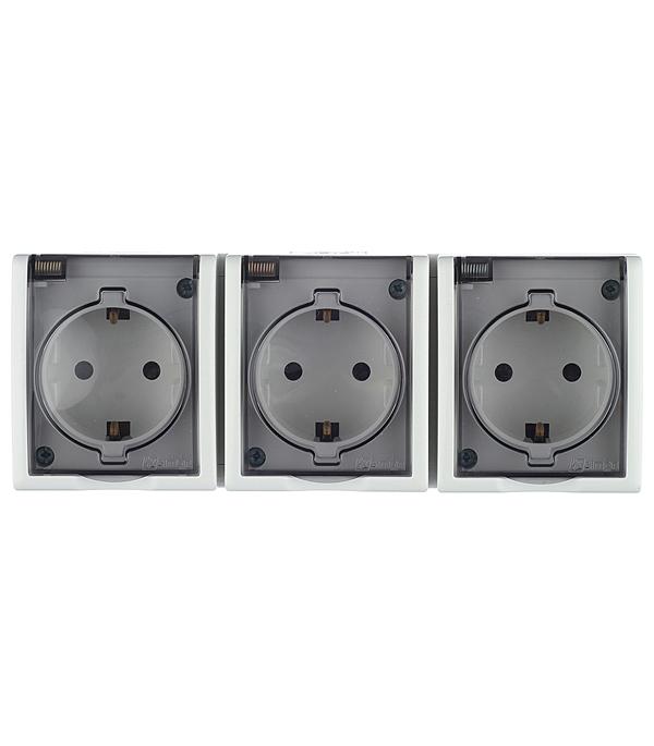 Розетка тройная с заземлением Schuko со шторками с крышкой IP54 16А 250В S15 Aqua белый цена