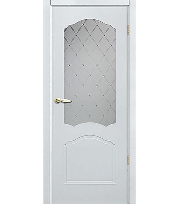 Дверное полотно окрашенное Арктика белое 800х2000 мм со стеклом без притвора ключевина 016 pz золото