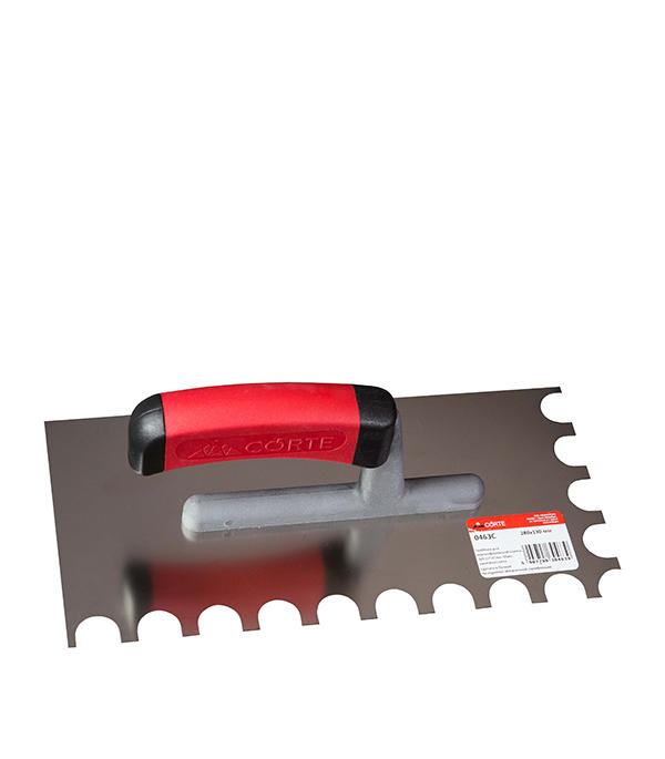 все цены на Гладилка зубчатая 280 х 130 мм зуб 15 х 20 мм с эргономичной ручкой Corte онлайн