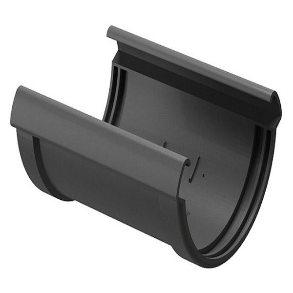 Соединение желоба Docke Lux пластиковое d140 мм графитовый серый RAL 7024 заглушка желоба docke premium пластиковая d120 мм графитовый серый ral 7024