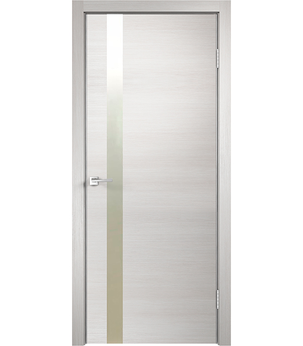 Дверное полотно экошпон TECHNO Z дуб белый 700х2000 мм со стеклом без притвора
