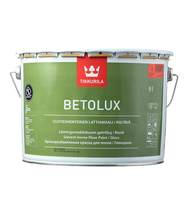 Краска Tikkurila Betolux для пола глянцевая основа С 9 л краска для пола tikkurila betolux бетолюкс глянцевая база с 9л
