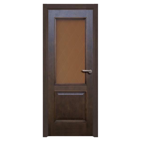 Дверное полотно РЖЕВДОРС Velmi 01 дуб тонированный со стеклом шпон 800x2000 мм цена