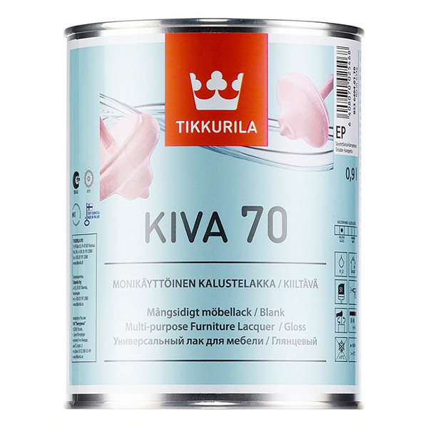 Лак акрилатный Tikkurila Kiva 70 основа EP бесцветный 0,9 л глянцевый kiva