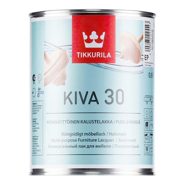 Лак акрилатный Tikkurila Kiva 30 основа EP бесцветный 0,9 л полуматовый kiva