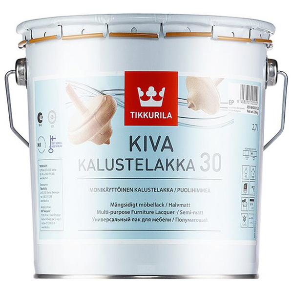 Лак акрилатный Tikkurila Kiva 30 основа EP бесцветный 2,7 л полуматовый kiva