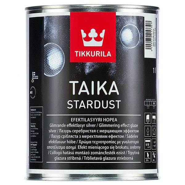 Лазурь мерцающая Tikkurila TAIKA STARDUST серебристая глубокоматовая 1л фото