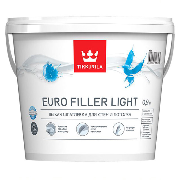 Шпатлевка легкая EURO FILLER LIGHT KTA 0,9л фото