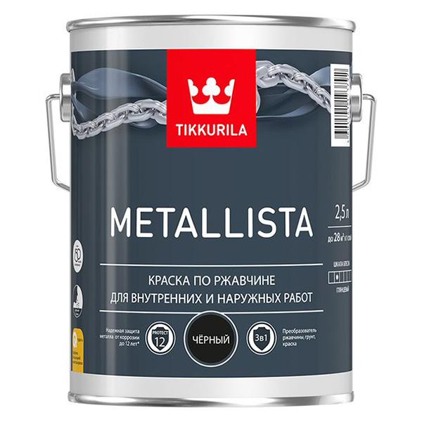 Краска по ржавчине Tikkurila Metallista черная глянцевая