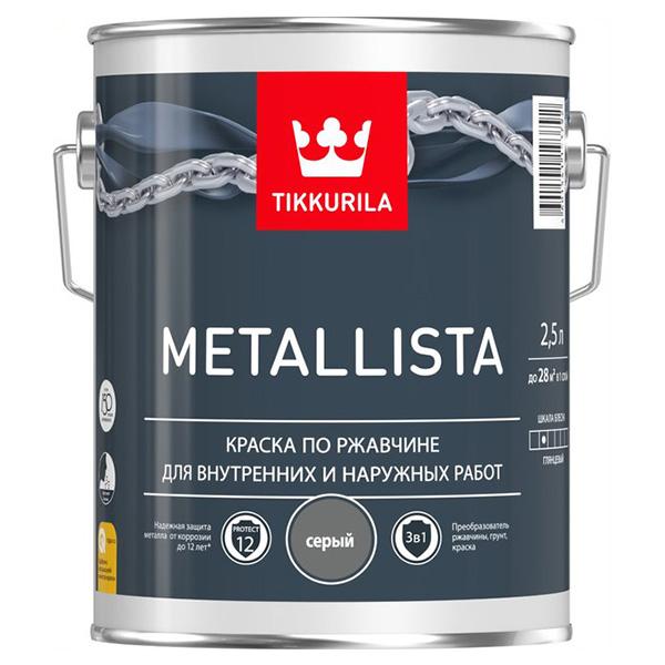 Краска по ржавчине Tikkurila Metallista серая глянцевая