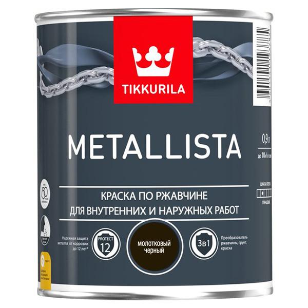 Краска по ржавчине Tikkurila Metallista молотковая черная