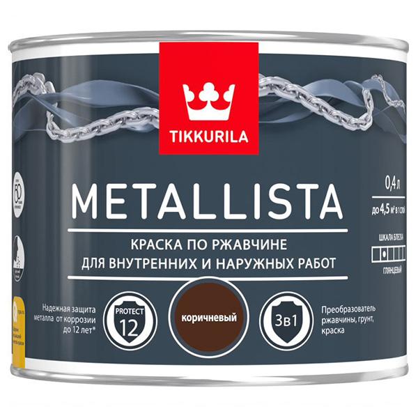 Краска по ржавчине Tikkurila Metallista коричневая глянцевая