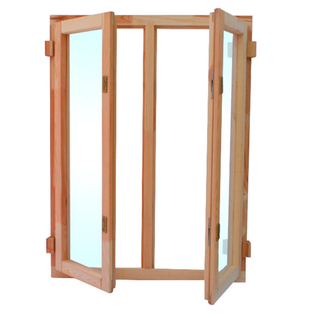 Окно деревянное террасное 1160х870х45 мм 2 створки поворотные
