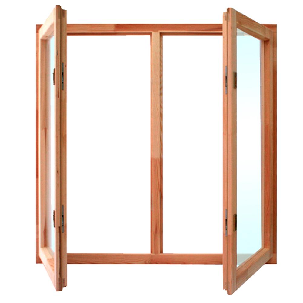 Окно деревянное террасное 1160х1170х45 мм 2 створки поворотные