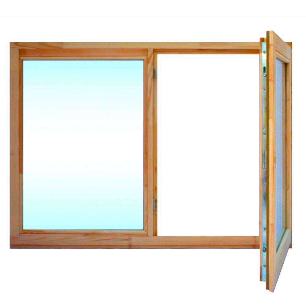 Окно деревянное 860х1170х45 мм 2 створки левая глухая, правая поворотная