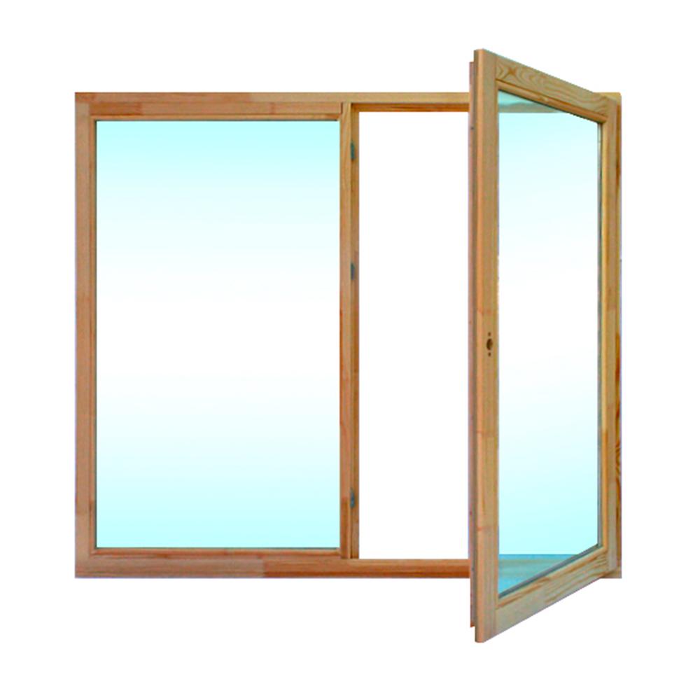 Окно деревянное 1320х1470х45 мм 2 створки левая глухая, правая поворотная