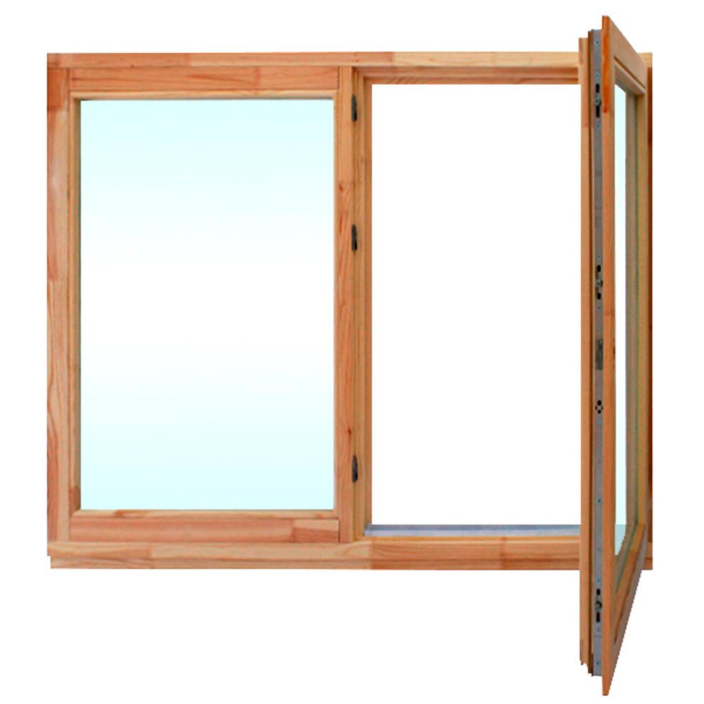 Окно деревянное 860х1170х60 мм 2 створки левая глухая, правая поворотная