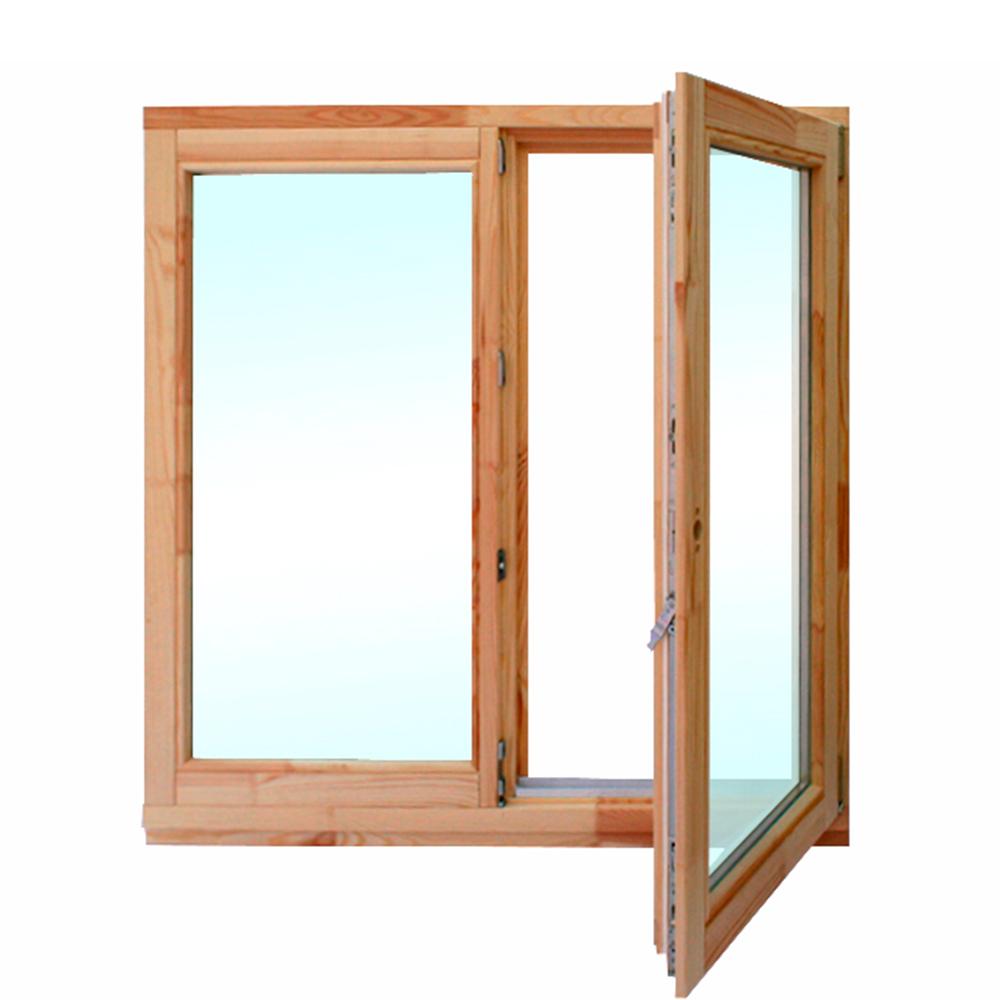 Окно деревянное 1160х1170х60 мм 2 створки левая глухая, правая поворотная