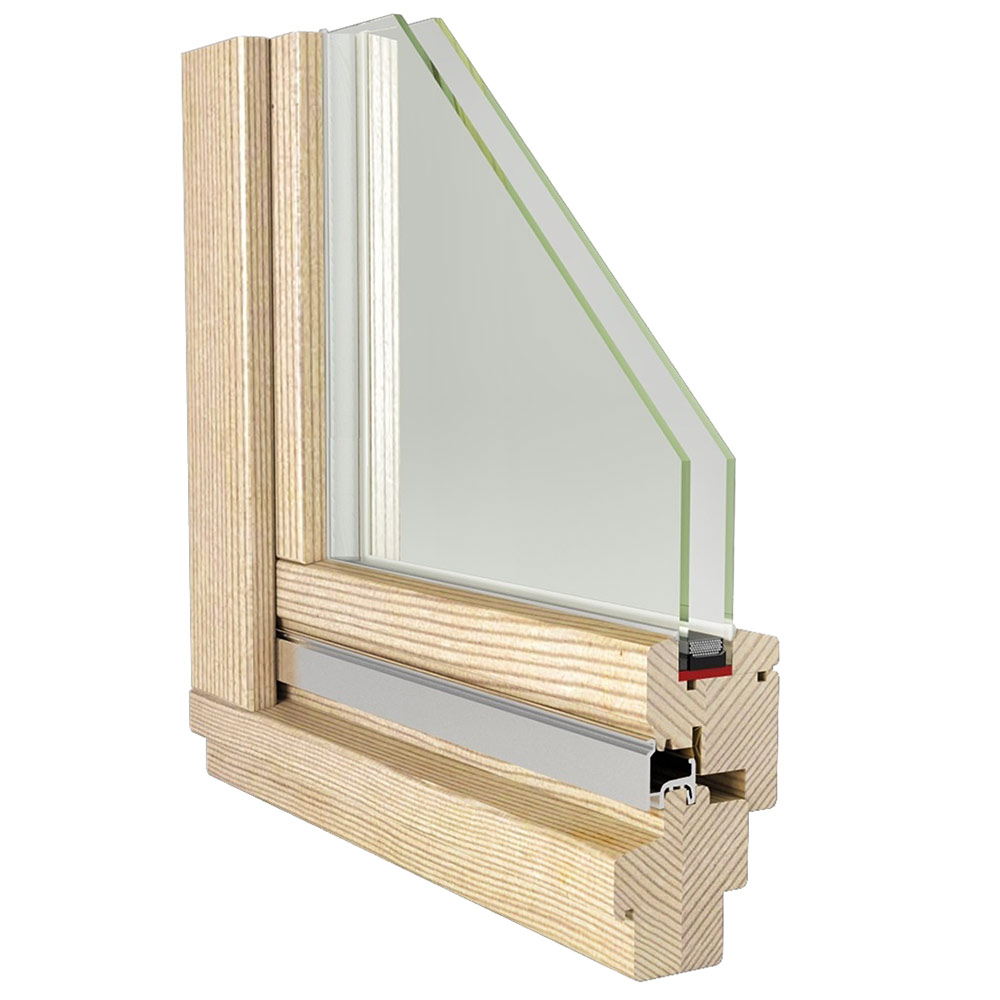 Окно деревянное 1160х1470х60 мм 2 створки левая глухая, правая поворотная