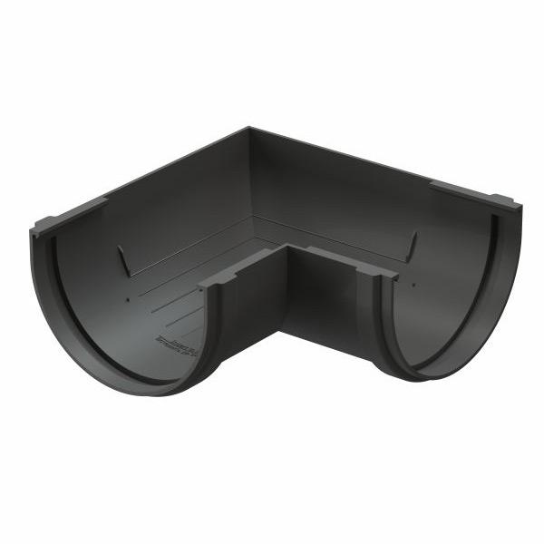 Угол желоба Docke Premium пластиковый d120 мм 90° графитовый серый RAL 7024