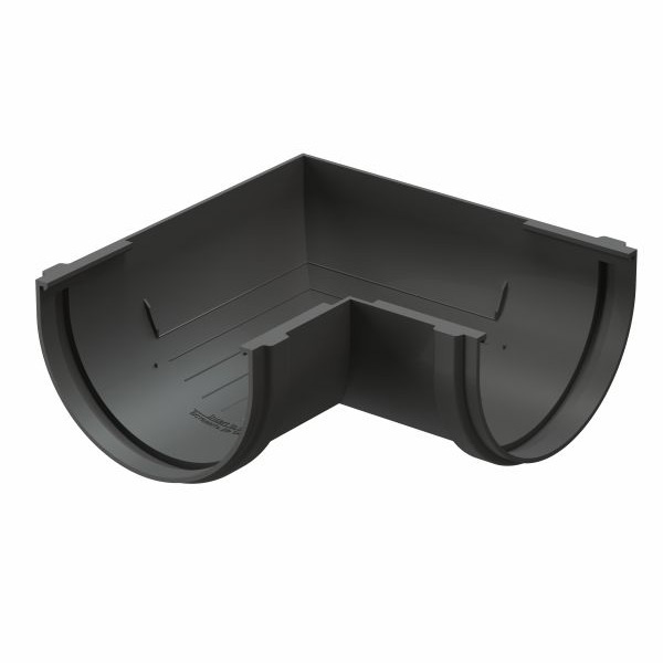Угол желоба Docke Premium пластиковый d120 мм 90° графитовый серый RAL 7024 заглушка желоба docke premium пластиковая d120 мм графитовый серый ral 7024