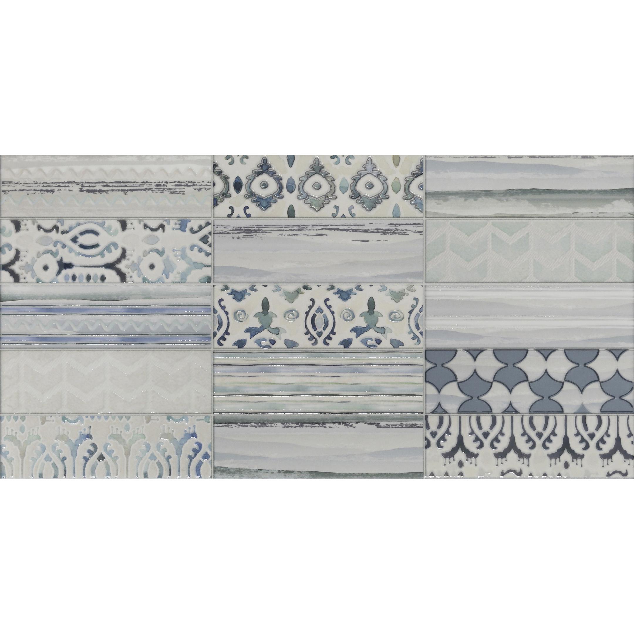 Плитка декор Нефрит-Керамика Ванкувер голубой майолика 250x500x9 мм фото