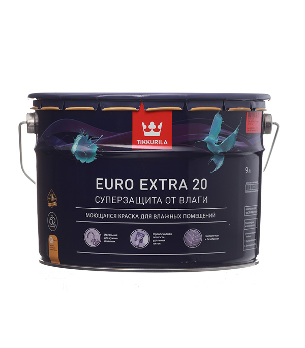 цена на Краска в/д Tikkurila Euro Extra 20 основа C полуматовая 9 л