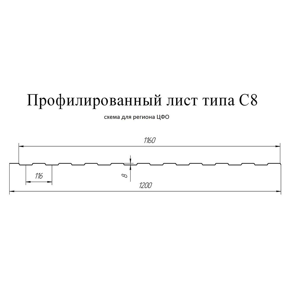 Профнастил С8 1,2х2 м 0,45 мм графитовый серый RAL 7024
