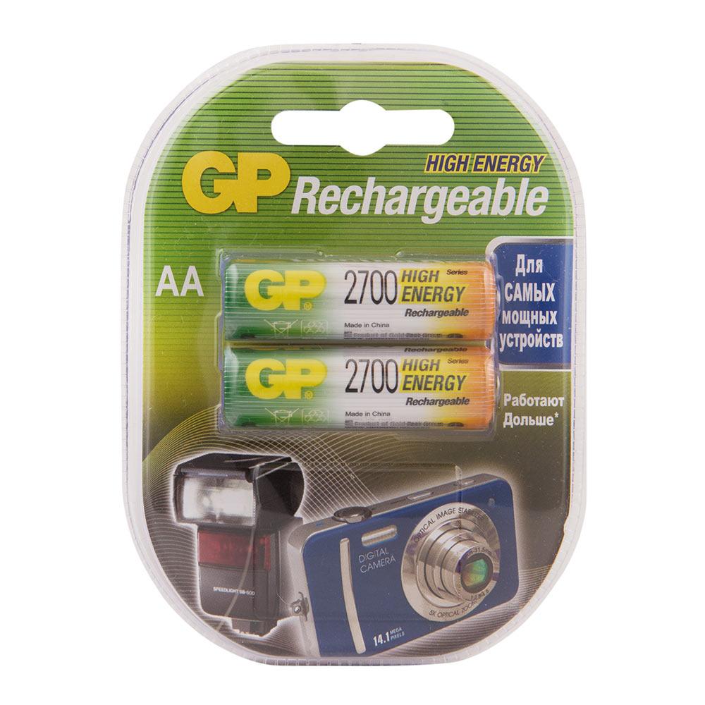 Аккумулятор GP Batteries АА пальчиковый LR6 1,2 В 2700 мАч (2 шт.) аккумуляторы для приставок