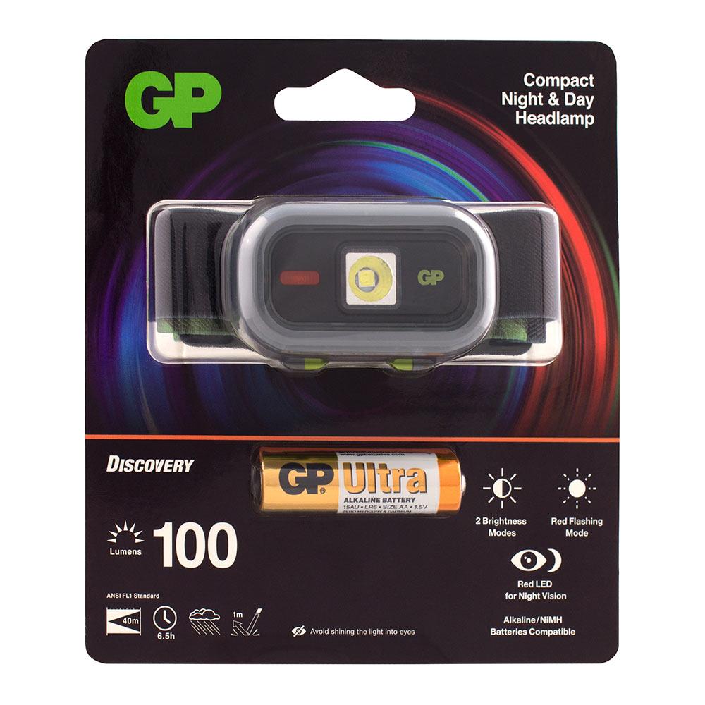 Фонарь налобный GP Batteries CH33ME (GP CH33ME-2FB1) светодиодный 1 LED на батарейках пластик поддержка ночного видения