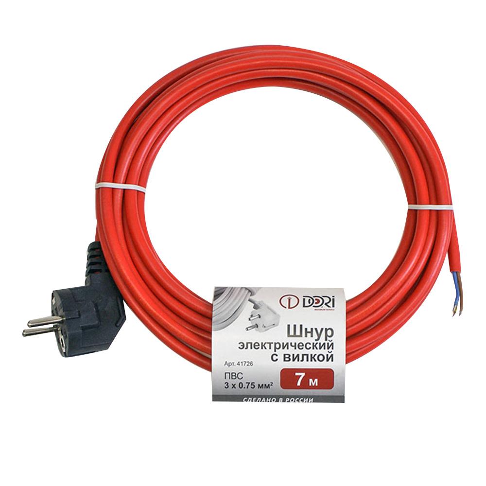 Шнур сетевой DORI (41726) с заземлением 7 м 10 А 220-250 В ПВС 3х0,75 мм2 IP20 c вилкой красный фото