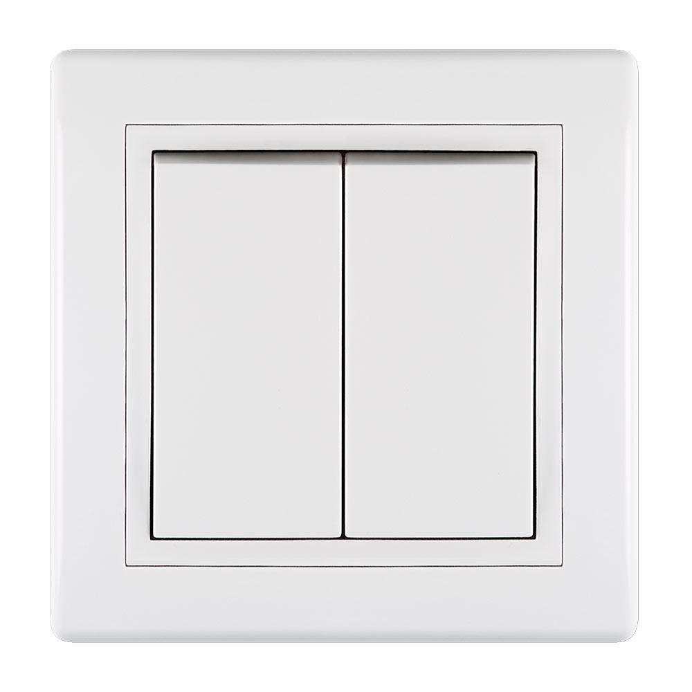 Выключатель с рамкой Aling-conel 6072.000 двухклавишный скрытая установка белый фото