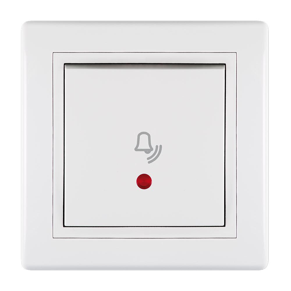 Кнопка звонка с рамкой Aling-conel 610I.000 скрытая установка белая с подсветкой фото