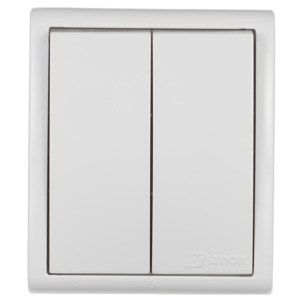 Выключатель Simon 15 Aqua 1594398-030 двухклавишный открытая установка белый IP54