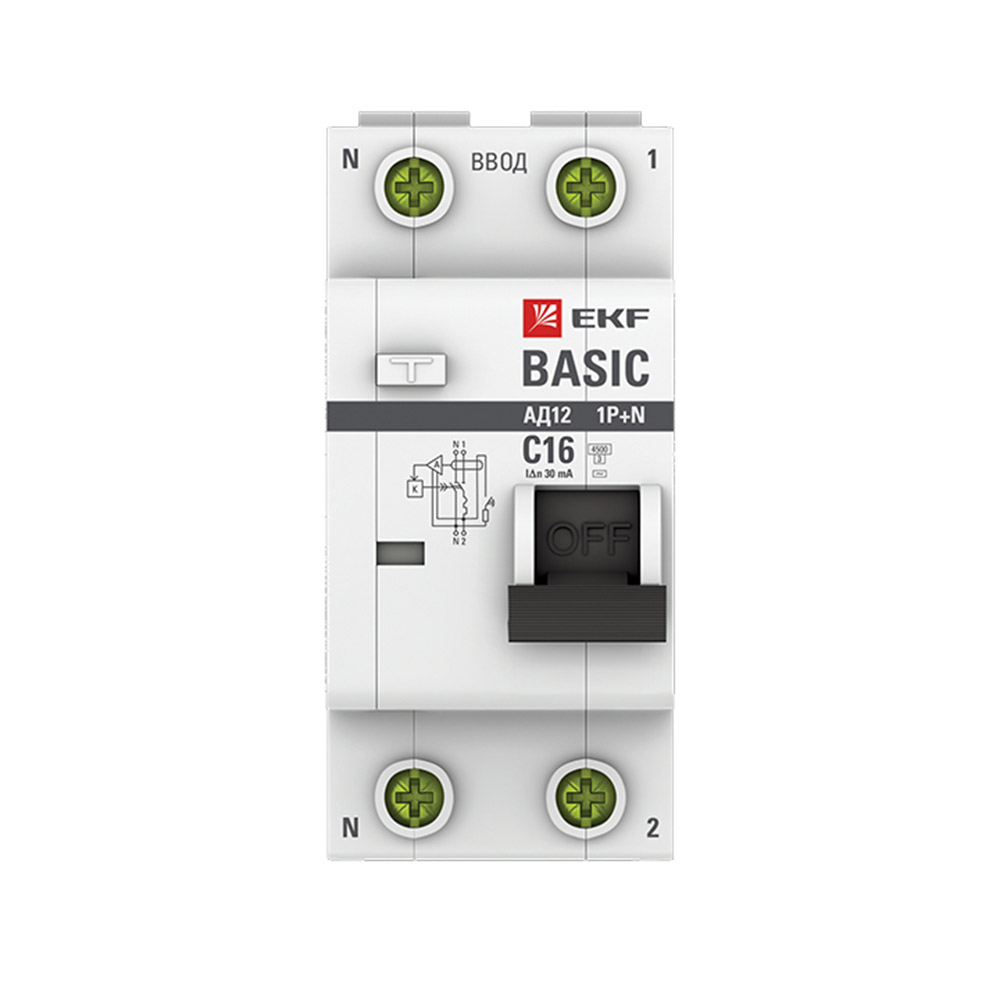 Автомат дифференциальный EKF АД-12 (DA12-16-30-bas) 16 А 30 мА 2P тип АС 4,5 кА фото