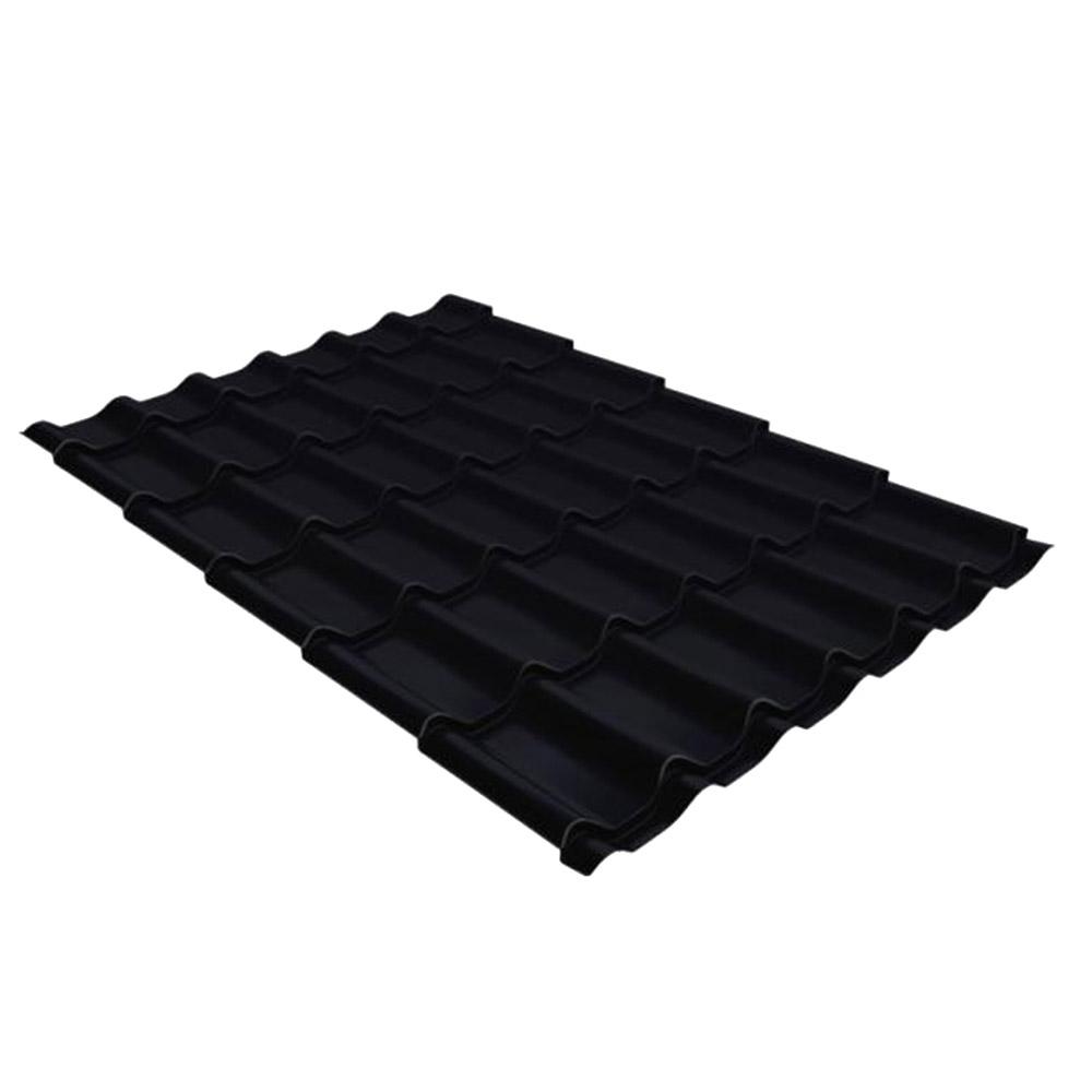 Металлочерепица 1,18х3,60 м толщина 0,5 мм Стальной Бархат черный янтарь RAL 9005
